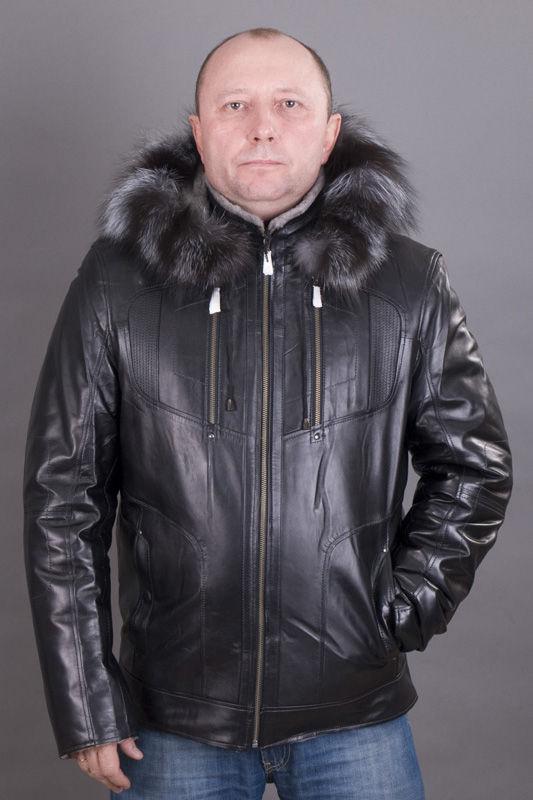 Зимняя кожаная мужская куртка и три